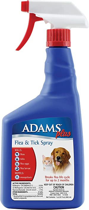 Adams Plus Flea and Tick Spray for Cats and Dogs, 32 Ounce