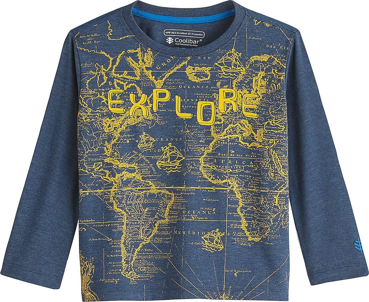 Coolibar UPF 50+ Toddler Long Sleeve Everyday Graphic T-Shirt - Sun Protective (3T- Denim Blue Explore)