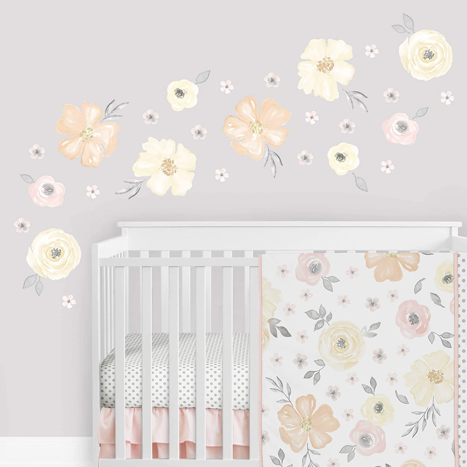 Sweet Jojo Designs Yellow Pink Watercolor Floral Wall Decal Large Peel and Stick Stickers Art Nursery Decor Mural Set of 4 Sheets Blush Peach Orange Cream Grey White Shabby Chic Rose Flower Farmhouse