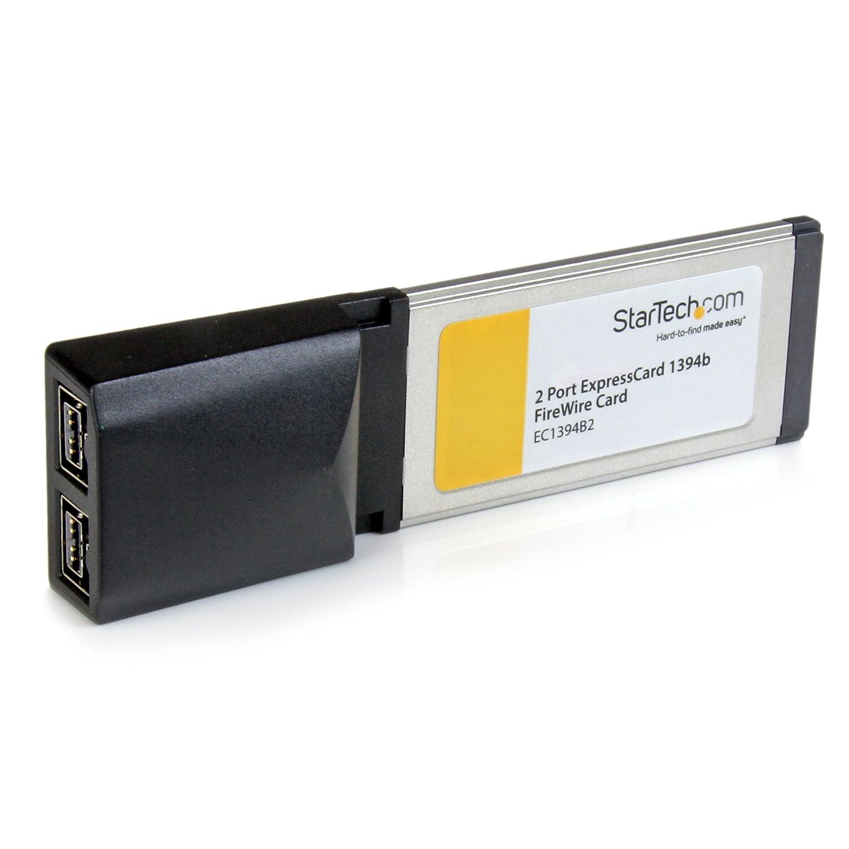 StarTech.com 2 Port ExpressCard 1394b FireWire Laptop Adapter Card - Texas Instruments FireWire Card - ExpressCard FireWire 800 (EC1394B2)