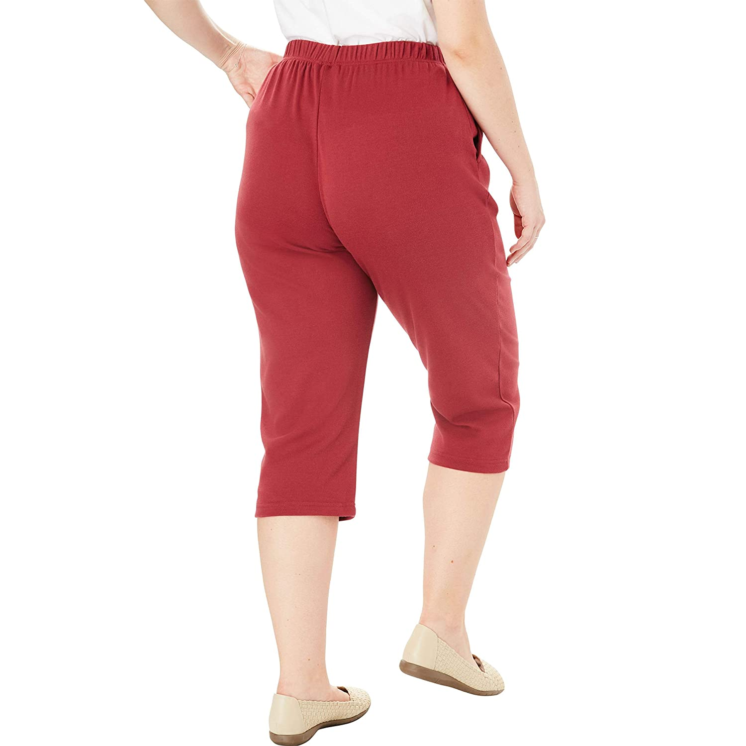 d8fa5751315 Woman Within Plus Size Petite 7-Day Knit Capri at Amazon Women s Clothing  store  Woman Within Petite Pants