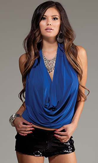 Image Unavailable. Image not available for. Color  Forplay Club Metreon  Halter Top w Deep Plunging Cowl Neck   Exposed Back Blue XL c2d6a0603