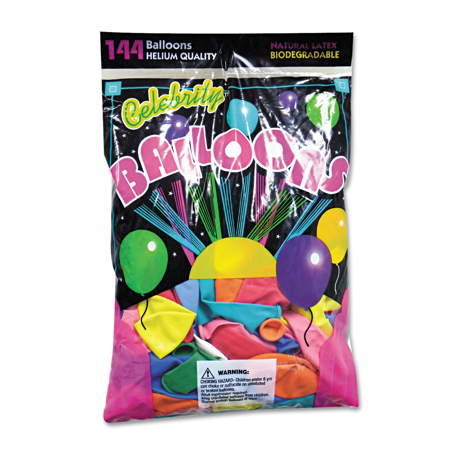 Helium Quality Latex Balloons, 12 Assorted Colors, 144/Pack ...