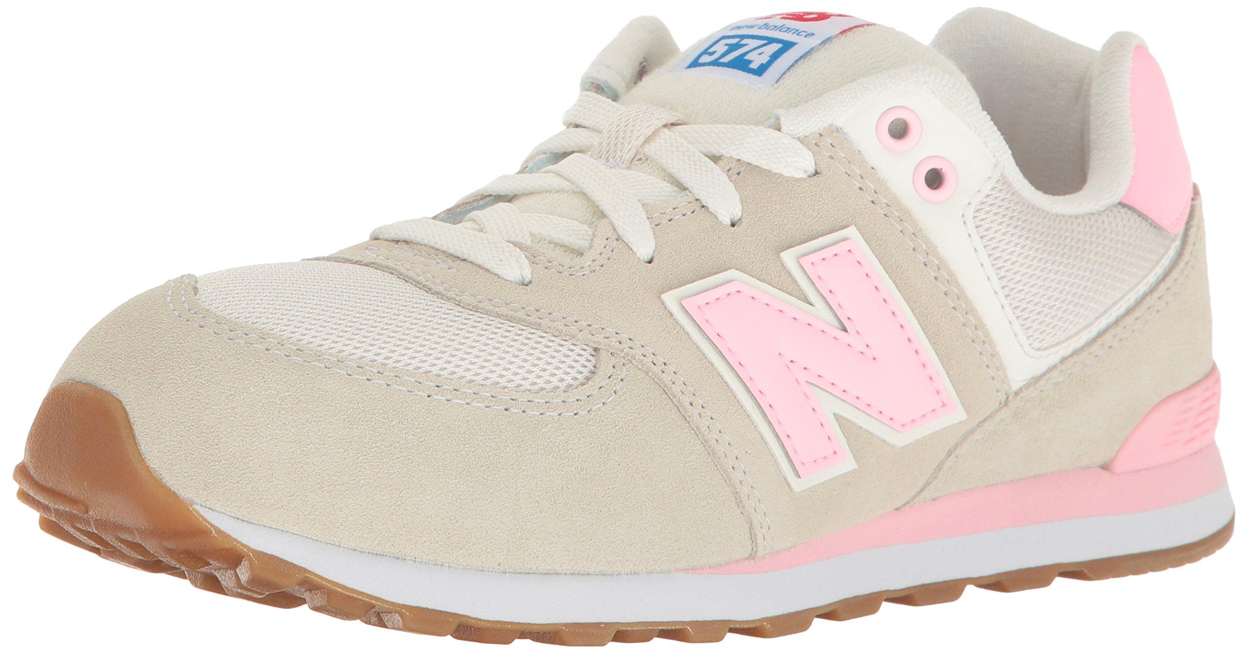 New Balance Girls' 574 Fashion Sneaker Retro Sport (BK) Running Shoe, Pink/White, 7 M US Big Kid