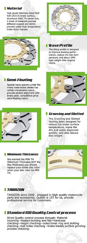 TARAZON Gold Paar Bremsscheiben vorne f/ür Kawasaki NINJA ZX6R 95-01//ZX6R 636 02//ZX6 R Ninja 04-08//ZR 550 ZEPHYR 90-01//ZZ-R400 90-01//ZZR 600 J 04-08