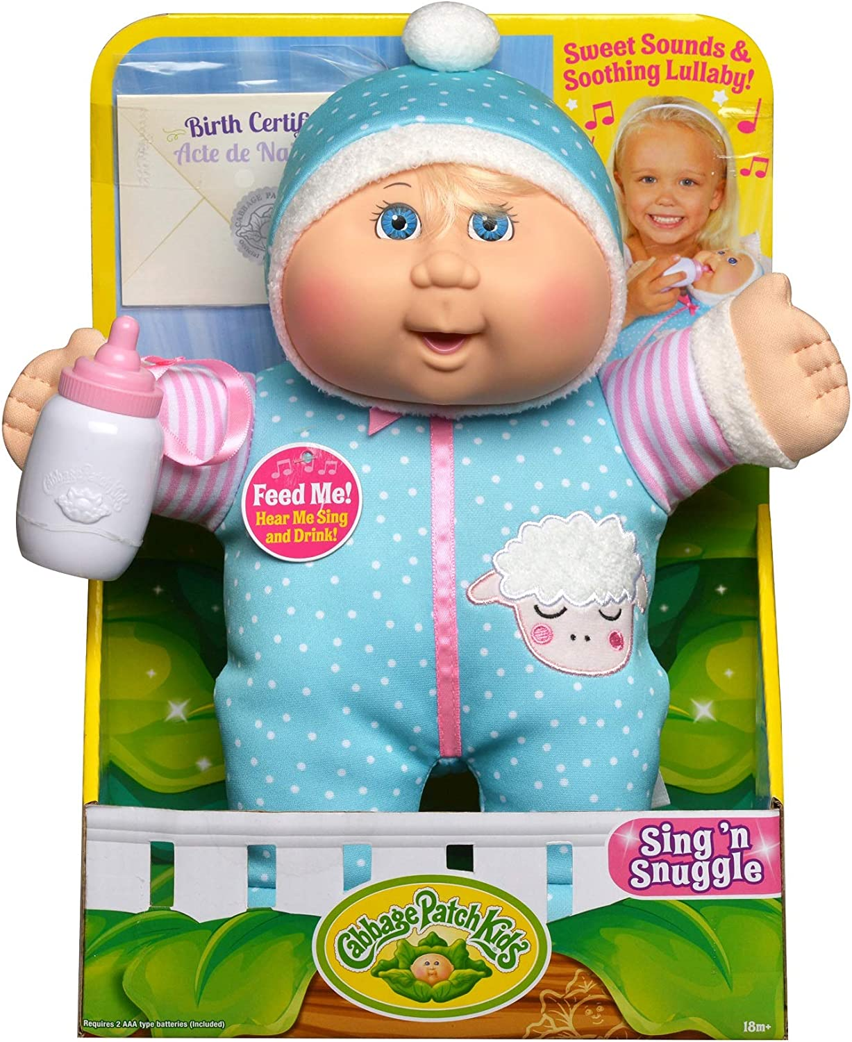 """Cabbage Patch Kids Electronic 11"""" Deluxe Sing N' Snuggle - Blonde Girl/Blue Eyes, Multi, (Model: 38736)"""
