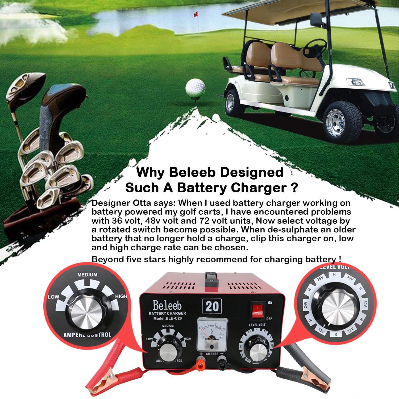 Beleeb Cargador de bater/ía For 12V 24V 36V 48V 60V 72V Batteria al Piombo Acido,AGM