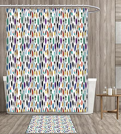 Feather Shower Curtain Polyester Fabric Art An Assortment Of Colorful Quills Ethnic Aztec Folklore Motifs Bohemian
