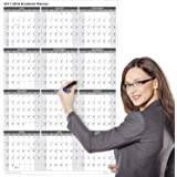 2017 - 2018 Academic Wall Calendar, Laminated, 24 x 36 Inches, 2-Sided Reversible Vertical/Horizontal, Mounting Tape Included (White)
