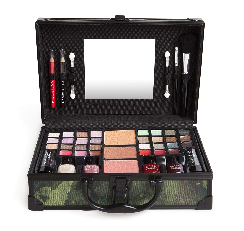 Magic Studio Camouflage Perfect Traveler Makeup Case With Eyeshadow, Powder And Blush, Lipstick, Nail Polish, Eyeliner And Lipstick: Amazon.es