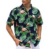 Janmid Mens Floral Hawaiian Shirts Short Sleeve Button Down Beach Shirts