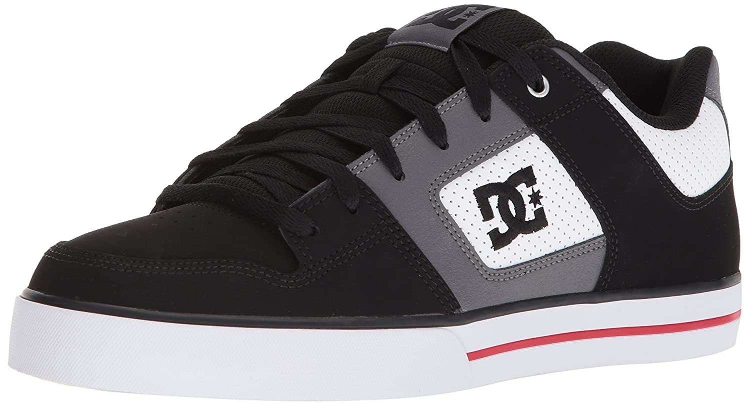DC Men's Pure Action Sport Sneaker 9 D(M) US|White/Black/Red
