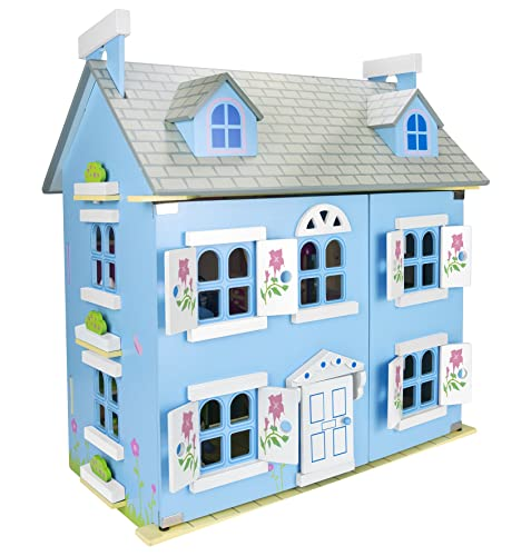 Beautiful Large Blue Children's Kids Wooden Alpine Dollhouse with Furniture and Set of Dolls, Toy Dollhouse for Boys Girls