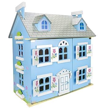 Alpine Blau Villa Schöne Puppenhaus aus Holz mit Möbeln und Familie ...