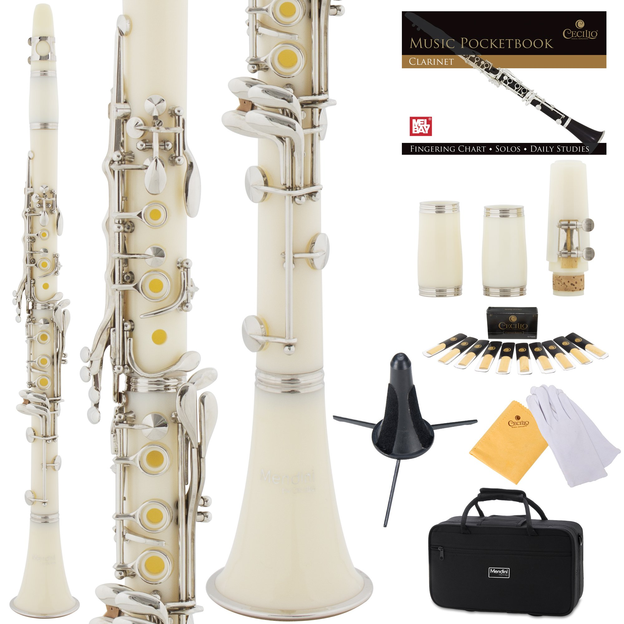 Mendini White ABS B Flat Clarinet with 2 Barrels, Case, Stand, Pocketbook, Mouthpiece, 10 Reeds and More, MCT-2W
