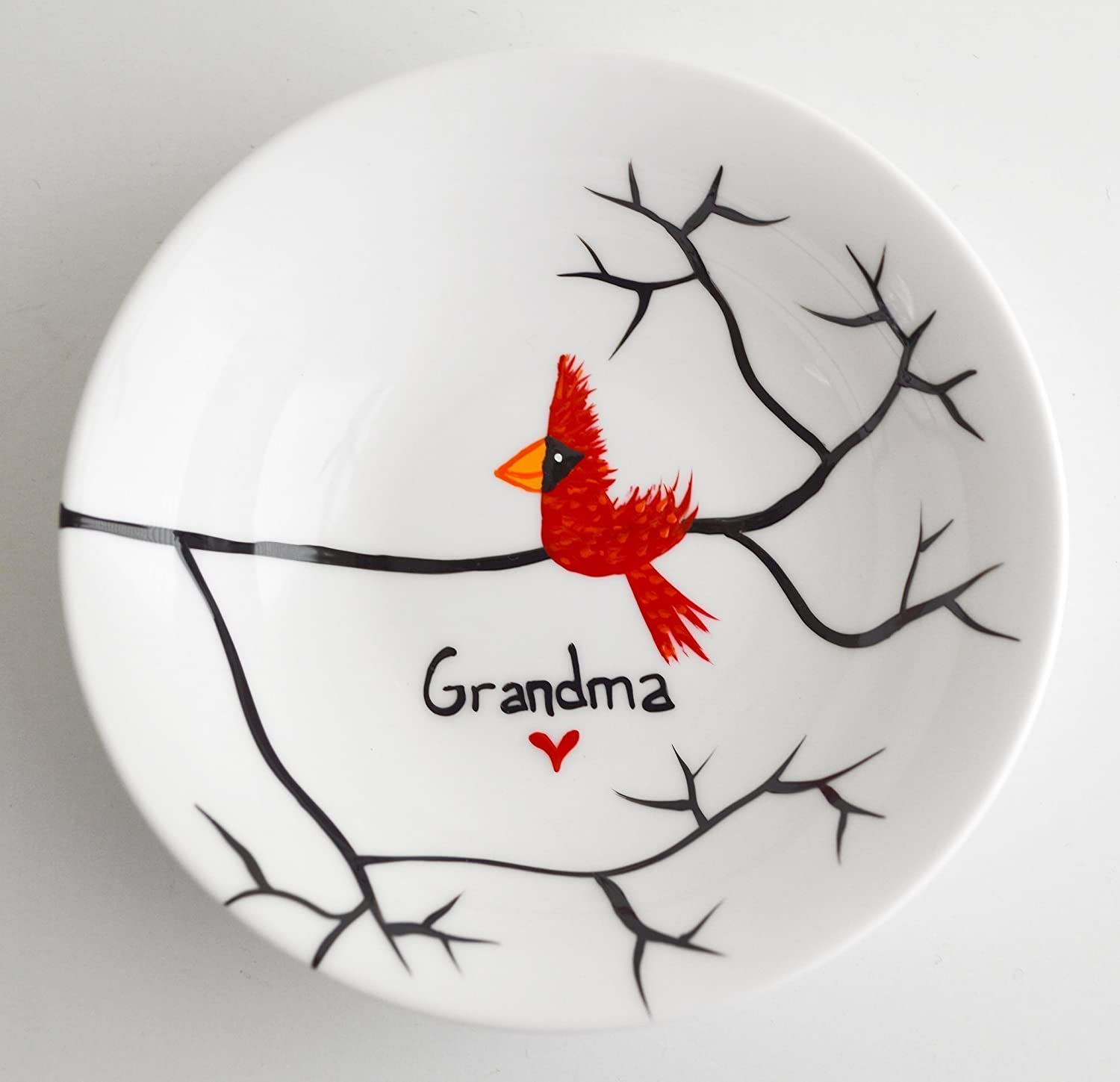 Cardinal Red Bird Ring Dish - Personalized Gift, Personalized Jewelry Bowl, Gifts for Grandma