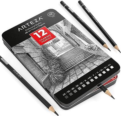 Arteza Estuche de lápices de grafito para dibujo profesional | Caja de lápices para bocetos de arte | 12 unidades | 12 tonos distintos: Amazon.es: Oficina y papelería