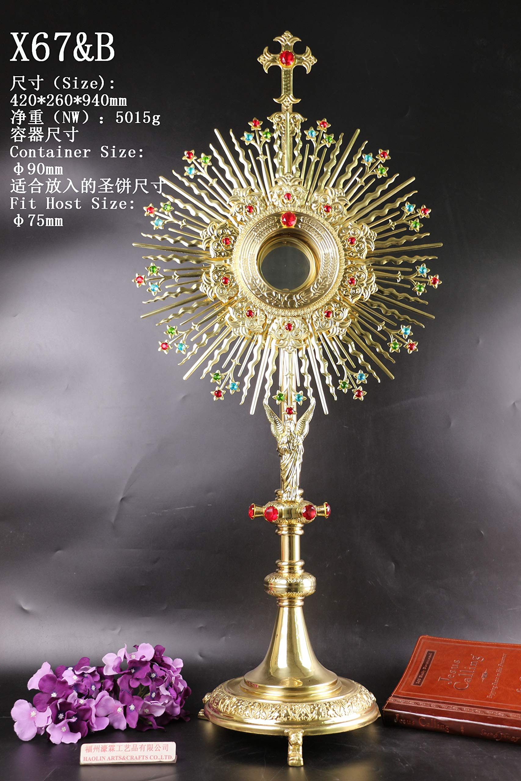 Rare Fine Large Monstrance with Lunette Beautiful and Affordable! 37'' High X67&B