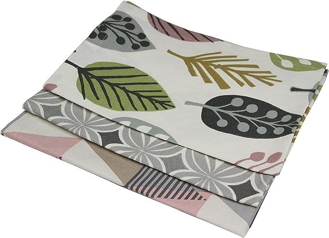 Table de Salle /à Manger Coton Naturel /à Motifs D/écorative Rose et Gris Lot de 2 McAlister Textiles Vita Torchons de Cuisine en Coton Imprim/é