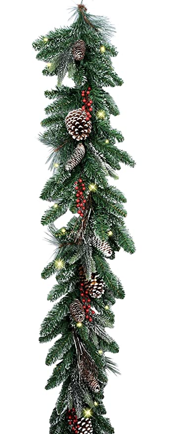 6 foot snow frosted led pre lit cordless christmas lighted pine garland with red berries