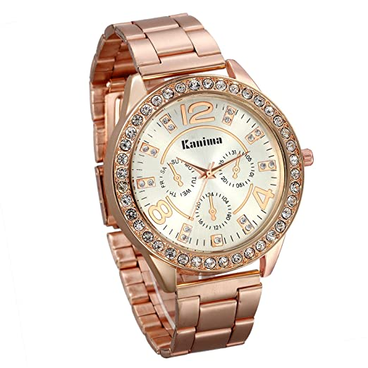 JewelryWe Unisex Fashion Womens Mens Bling Rhinestone Accented Analog Stainless Steel Watch, Rose Gold
