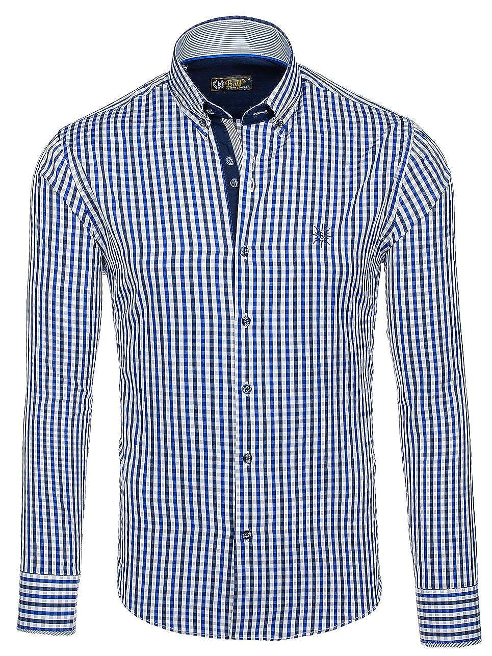 Freizeithemd Shirt Herenhemd Hemd Classic Langarm Basic Herren BOLF 2B2 Casual