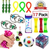 17 Pack Sensory Fidget Toys Set-Liquid Motion Timer/Rainbow Magic Ball/Stretchy String/Infinity Cube/Beans Squeeze Grape Ball/Mesh and Marble Toys for Children and Adults Relief Anxiety