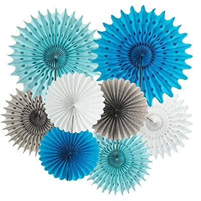 Baby Boy Baby Shower Decorations Blue Grey Elephant Party Decorations First Birthday Boy Decorations 8pcs White Blue Turquoise Grey Tissue Paper Fans for Boy Baby Shower Decorations: Toys & Games
