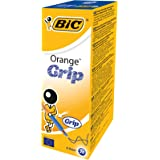 BIC Orange Grip Stylos-bille Pointe Fine - Bleu, Boîte de 20
