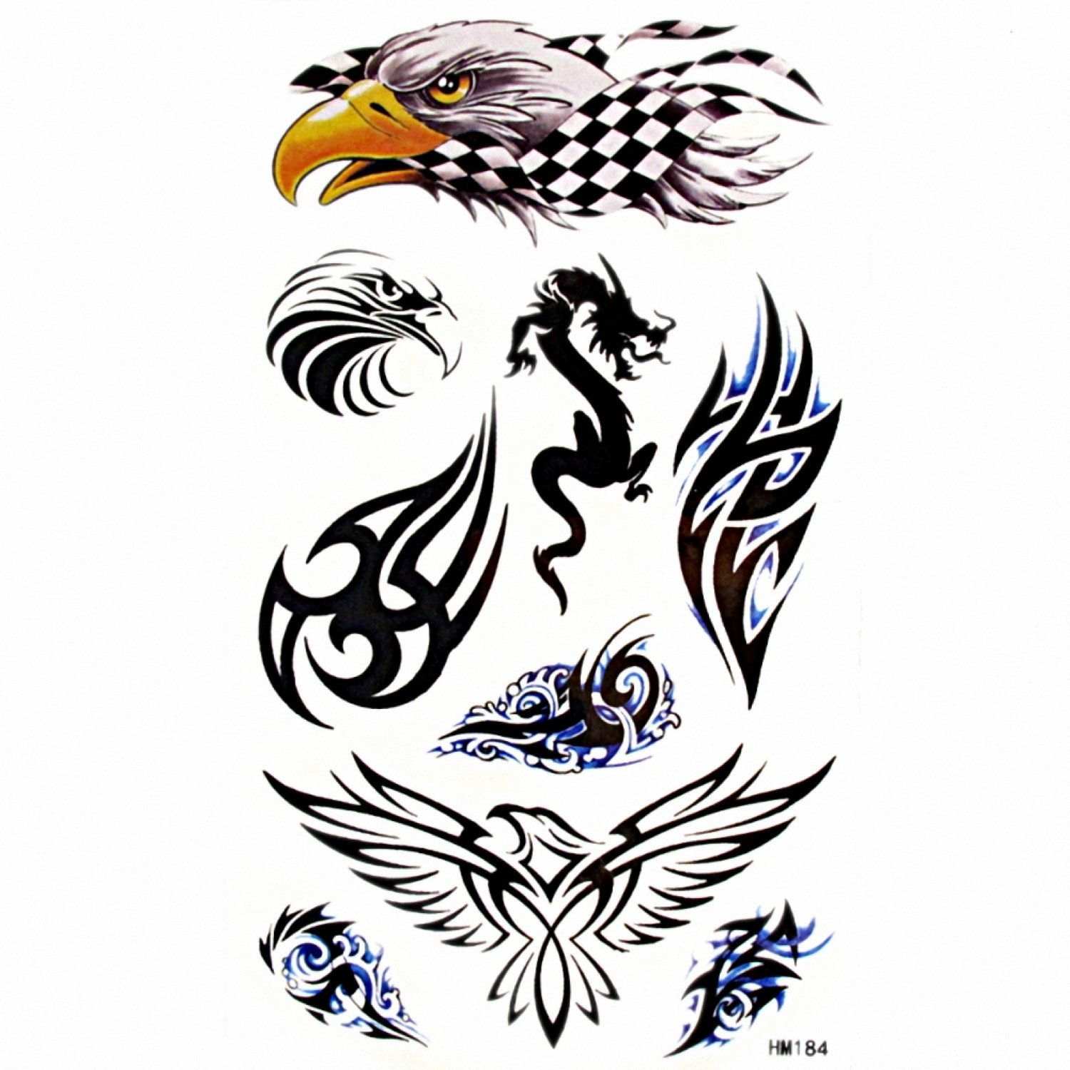 MapofBeauty Cool Animal Eagle/Dragon/Wing Temporary Waterproof Tattoo Body Art Sticker (2 pcs/lot)