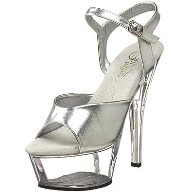 Pleaser Women's KISS-209/S/C Platform Sandal,Silver/Clear,