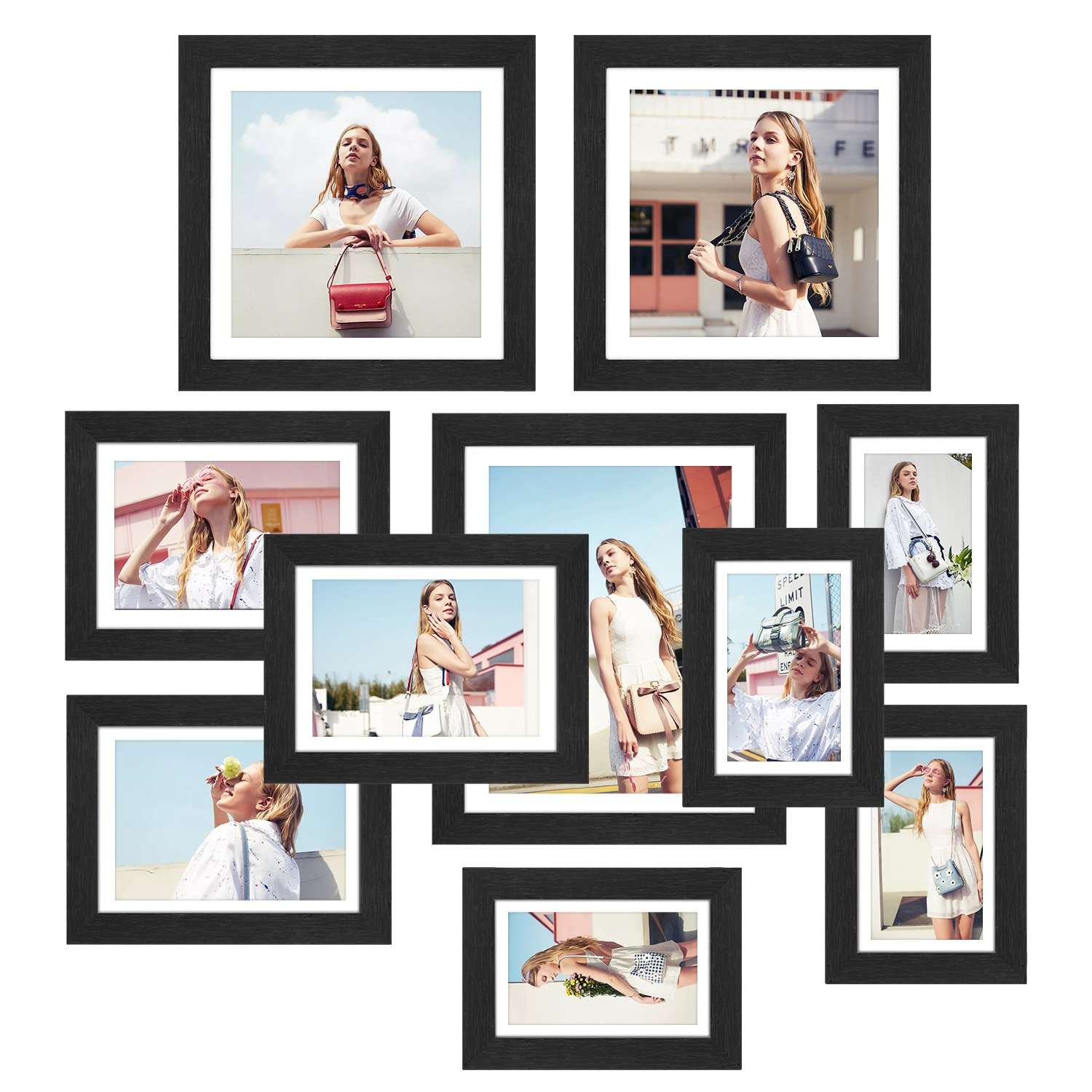 HOMFA 10pcs DIY Photo Frame Value Set, Picture Frames Wall Art Gallery Kit for Home Room Decor, Four 6x4 in, Three 7x5 in, Two 8x8 in, One 10x8 in, Black by Homfa