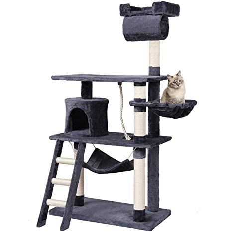 MC Star Árbol para Gato con Rascador Estable Grandes con Piso Engrosado y Tunel Arañazo Juguetes Sisal 141cm, Gris