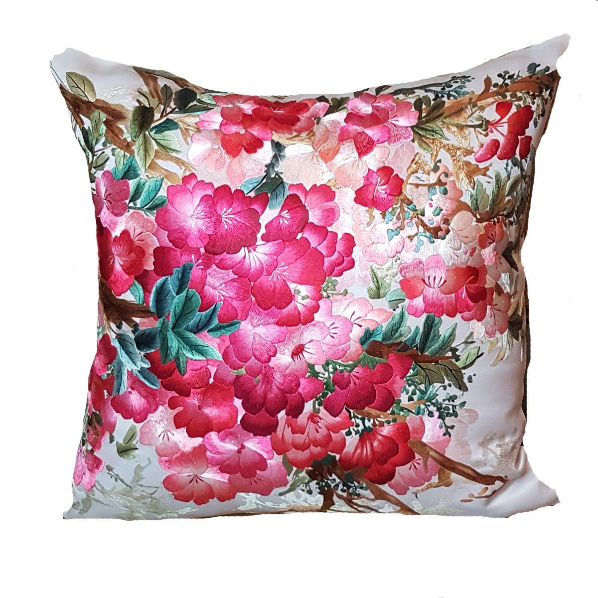 ピンクDelight – シルク刺繍装飾枕 – 20