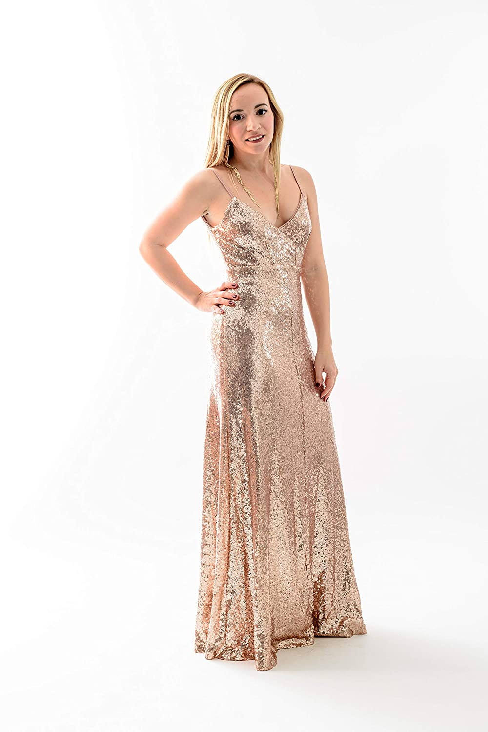 c475026e Amazon.com: Bsparklefashion Women's Sexy Deep V Neck Sequin Glitter Maxi  Sleeveless Party Dress Empire Elegant Line Club (L) Champagne: Clothing