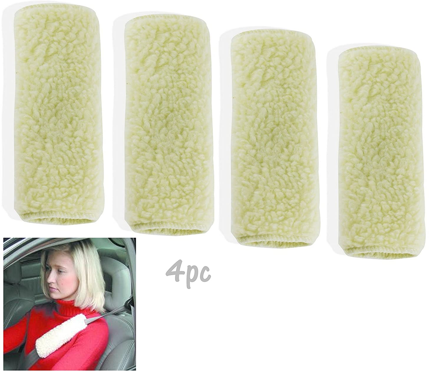 2pc ALAZCO Reversible Seat Belt Soft Comfort Shoulder Pad 9 Machine Washable Synthetic Wool AZ124SBP