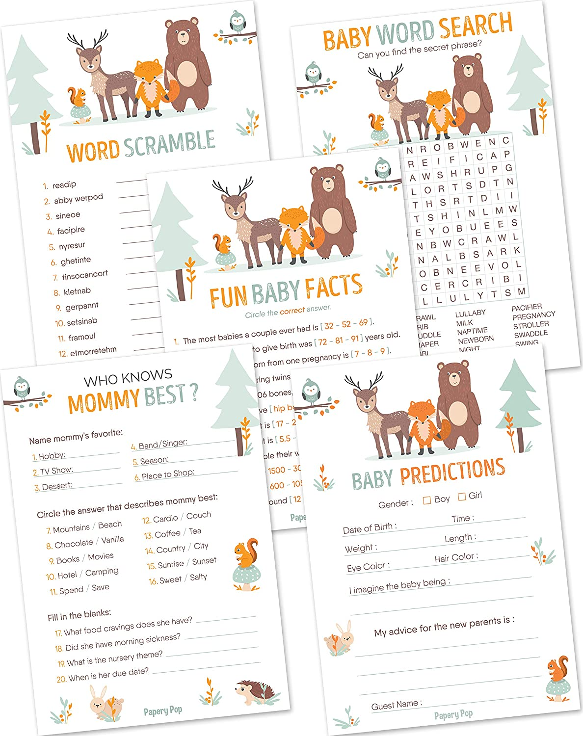 Amazon.com: Baby Shower Games for Boys or Girls - Set of 5 Activities - (50  Cards Each, 250 Total) - Baby Shower Supplies - Woodland Animals: Toys &  Games