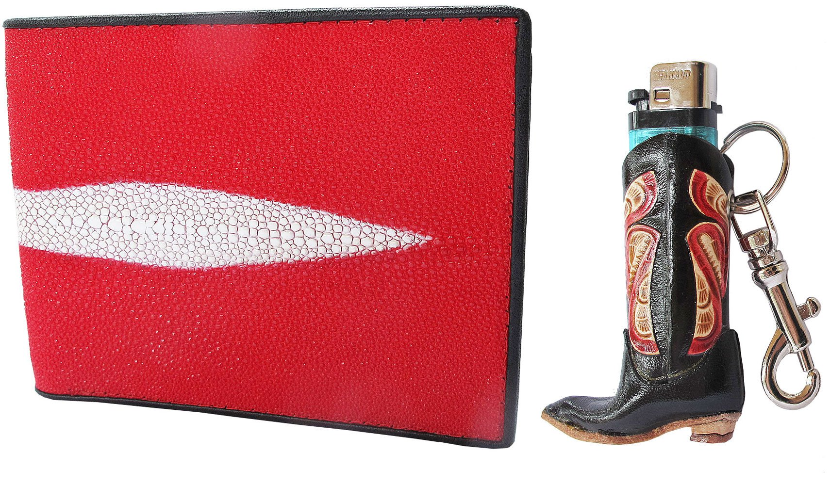 Danai Presents.HOT RED GENEUINE AND COOL STING RAY BI FOLD WALLET US SIZE COME ALONG WITH LIGHTER CASE (BOOT)