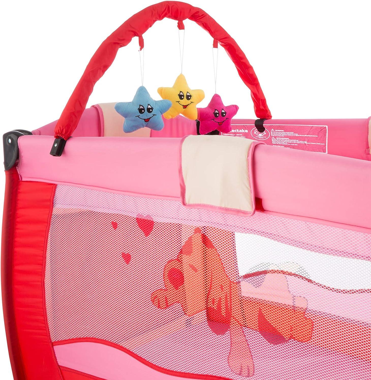 TecTake Cuna infantil de viaje de altura ajustable con acolchado para beb/é disponible en diferentes colores Beige   400467