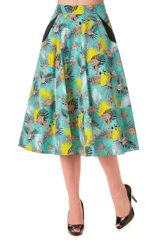 Banned Wanderlust Flamingo Print Vintage Skirt