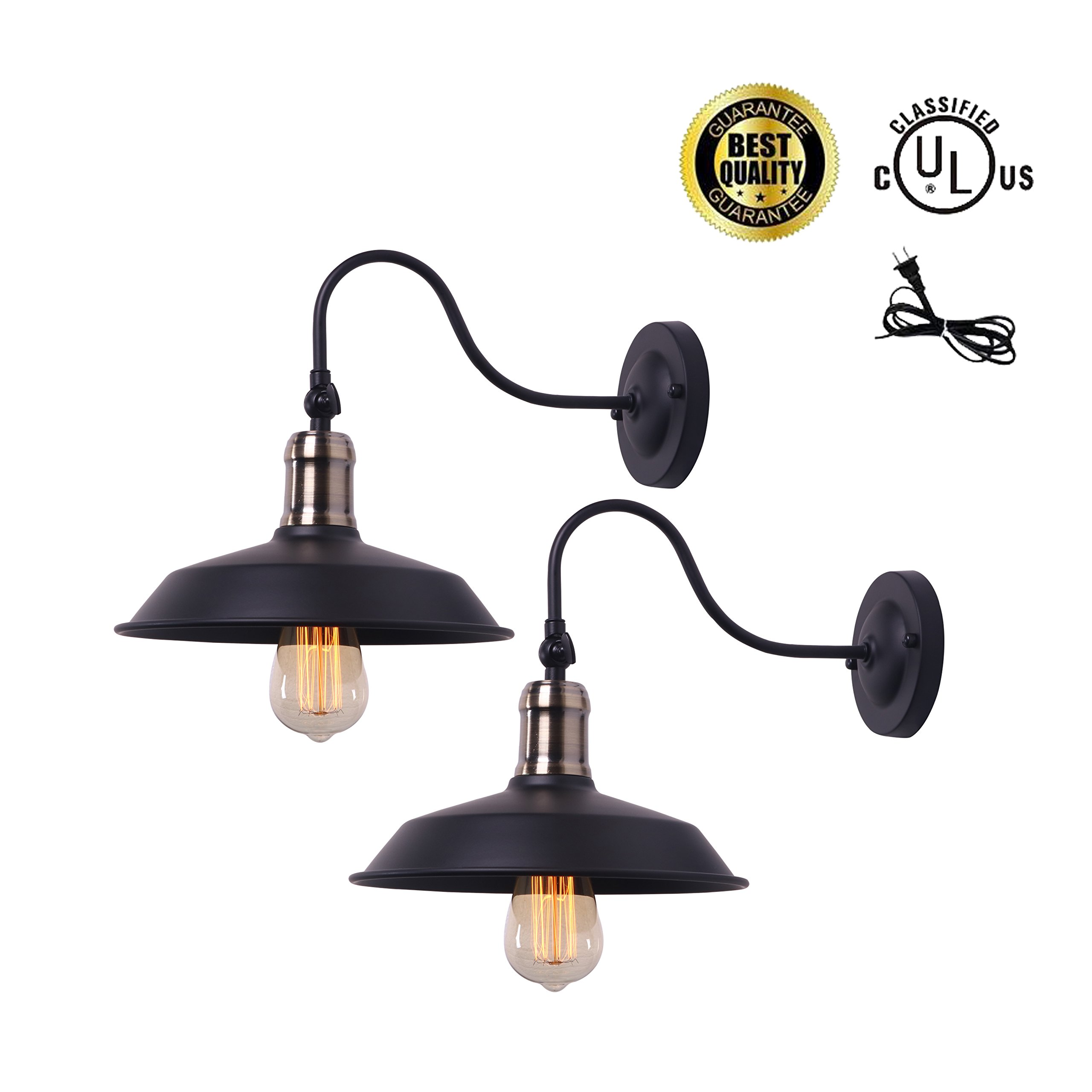 ALLTRUST Antique Brass and Black Industrial Rustic Wall Lamp Antique Farmhouse Wall Sconce Lighting Gooseneck Wall Light Fixtures Plug in Cord E26 Base for Indoor Use (Set of 2 Pack)