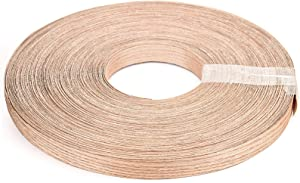 KEILEOHO 3/4 Inch x 164 Ft Red Oak Wood Veneer Edge Banding, Roll Preglued Extra Long Thick Real Wood Edge Tape Durable Firm Iron-on Hot Melt Adhesive Edgebanding for Furniture Restoration