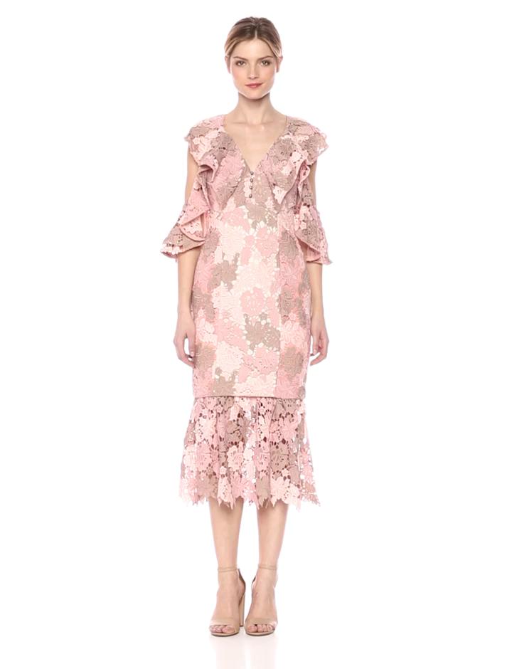 0be1f028b901 Elliatt Women's Apparel Women's Symphony V Neck Open Sleeve Ruffle Lace  Overlay Midi Dress at Amazon Women's Clothing store: