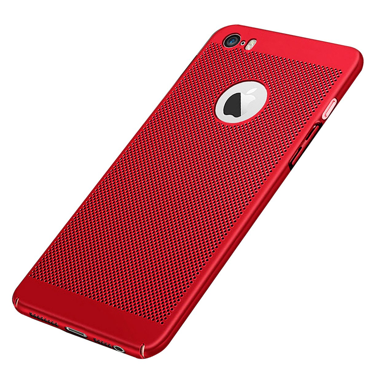 GerTong iPhone 5 5S SE Breathing Case, PC Mesh Design Ultra Slim Thin Breathable Cooling Heat Release Protective Shockproof Back Covers Shell for Apple iPhone 5 / 5S / SE, 4.0 Inch(Red)