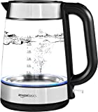 AmazonBasics Electric Glass and Steel Kettle - 1.7 Liter (Renewed)