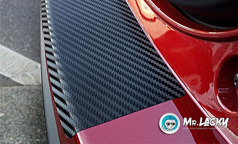 160/µm Typ 1F BJ 01//2011-2015 in 3D Carbon schwarz Lackschutzfolie mit Rakel als Ladekantenschutz Folie passend f/ür VW EOS MisterLacky II Facelift