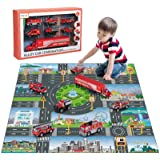 TEMI Diecast Emergency Fire Rescue Vehicle Toy Set w/ Play Mat, Truck Carrier, Water Cannon Vehicle, Medical Ambulance, Ladde