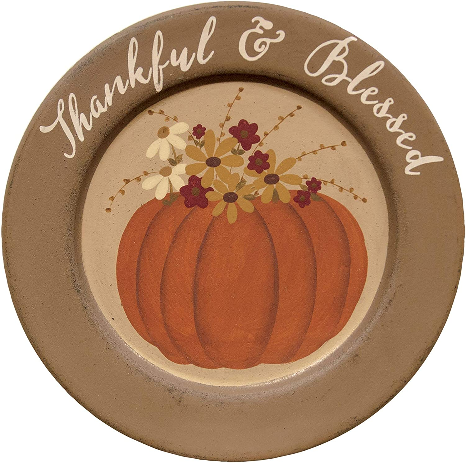CWI Gifts Thankful & Blessed Pumpkin Plate, Multi
