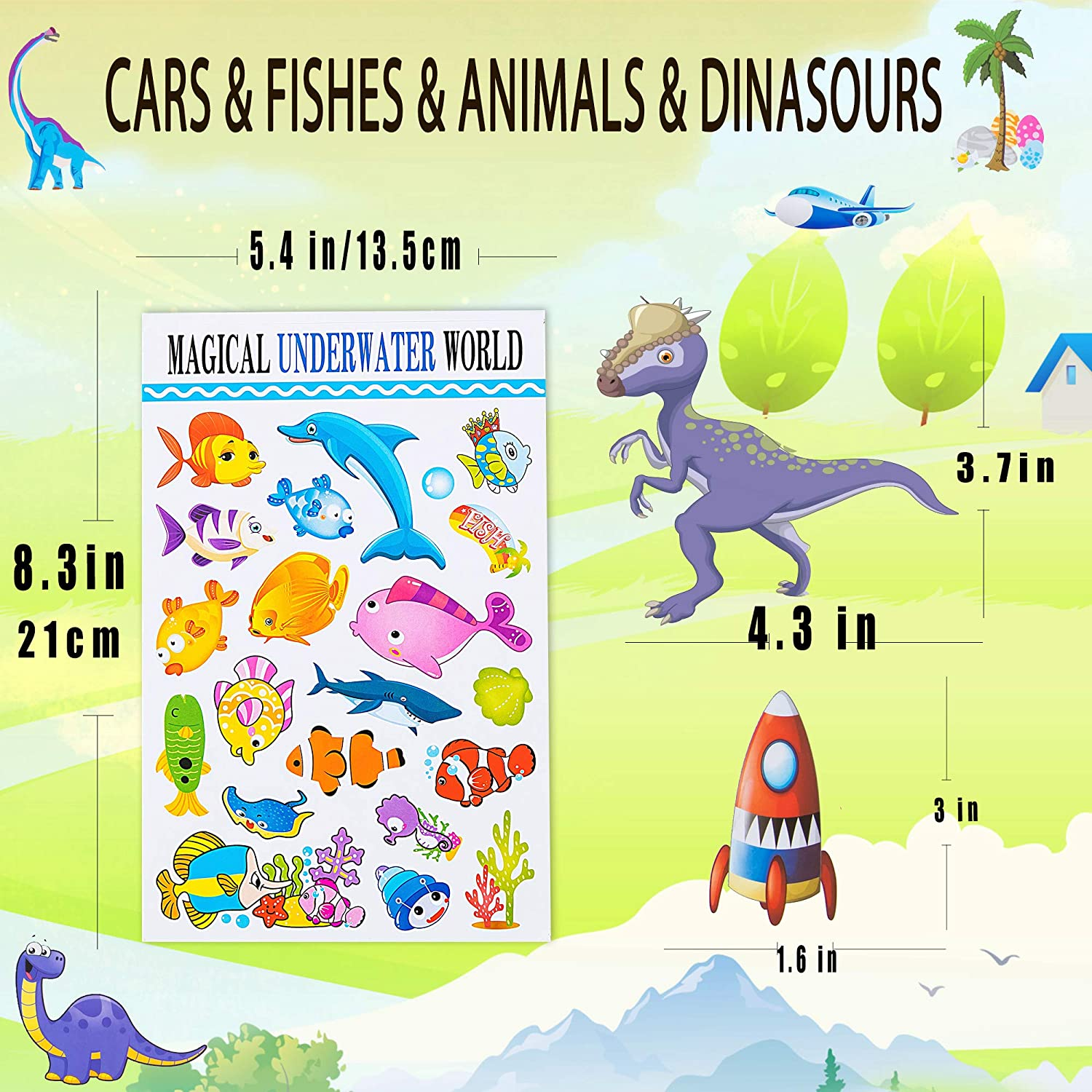Teachers Stickers for Classroom and Planning 48 Sheets,Variety Sticker Assortment of animals 1000+ no repeat Zoo animal stickers assortment for toddlers fishes and cars dinosaurs kids 48 sheets