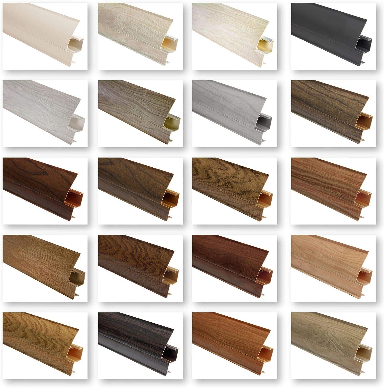 Sockelleisten und Zubeh/ör integrierter Kabelkanal Kunststoff Fu/ßleisten PVC Moderne Laminatleiste 60x26 mm Endkappe links EKL.8630 riesige Auswahl